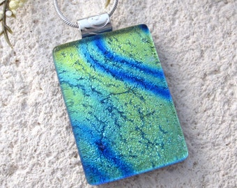Blue Green Gold Necklace, Dichroic Glass Jewelry, Dichroic Necklace, Fused Glass Jewelry, Fused Glass Pendant, Glass Necklace, 100916p100