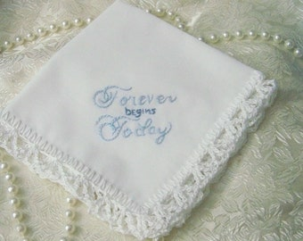 Something blue, Bridal Hanky, Bouquet Wrap, Hand Crochet, Lace Hanky, Forever Begins Today, Bridal Keepsake, Bridal Gift, Personalized