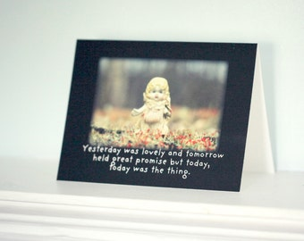 "Doll Card Adventures of Claudia Doll ""Today Was The Thing"" Typographic Greeting Seize The Day Stationary"