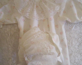 White Baby Day Gown with Roses