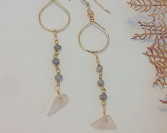 14kt Gold Filled Dangle Hoop Earrings Adorned with Labradorite and Rose Quartz Chips