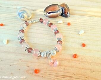 Bracelet stone rose quartz gemstone, swarovski crystal, romantic style, birthday gift, mother's Day heart