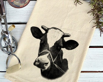 Flour Sack Towel, Flour Sack Dish Towel, Flour Sack Kitchen Towels, Tea Towels, Farmhouse Kitchen, Dish Towels, Cow lover gift, Holstein Cow