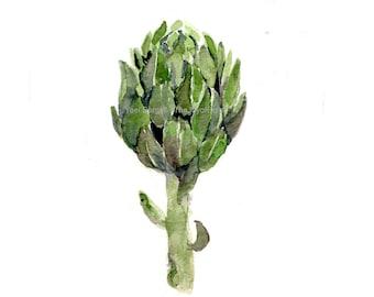 Artichoke Art Print, artichoke watercolor print, Artichoke Botanical Study, kitchen art, Moss Green, minimalist art, Vegetable art