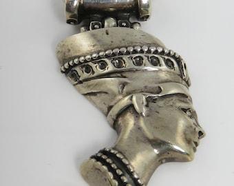 Estate Egyptian Revival Nefertiti Sterling Silver Necklace.