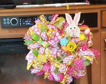 Whimsical Easter bunny wreath