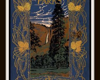 Our National Parks by John Muir, Vintage Book Cover Print - Cottage art, Cabin Art, Den Art