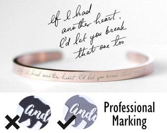 Handwriting Bangle  / Actual Handwriting Bracelet / Signature Bracelet / Personalized engraved bracelet / Memorial handwriting jewelry B3