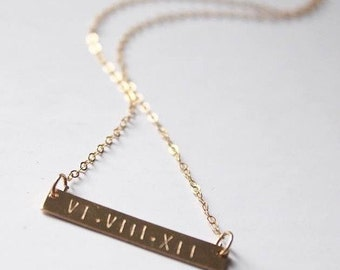 The Roman Numeral Date Necklace | Gold Filled Necklace | Personalized Gold Horizontal Bar Necklace | Hand Stamped Jewelry