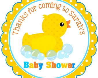 Rubber Ducky Stickers, Baby Shower Stickers, Personalized Stickers or Gift Tags, Rubber Ducky Baby Shower -Set of 12