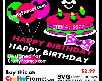 ITEM # CF-3677-Pink Minnie Mouse Polka Dot Happy Birthday - SVG Cutting Machine File - Instant Download - 2.99