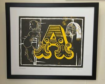 AICHMOPHOBIA - Original Woodcut Print
