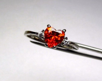 CLEARANCE  Blazing Orange CZ Heart in an Accented Sterling Silver Ring