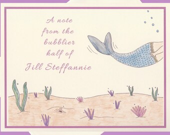 Personalized Note Card Set, Mermaid Cards, Personalized Note Cards, Personalized Stationery, Personalized Stationery Set, Mermaid Gifts