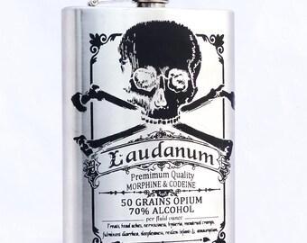 Laudanum Label Vintage Pharmacy  flask