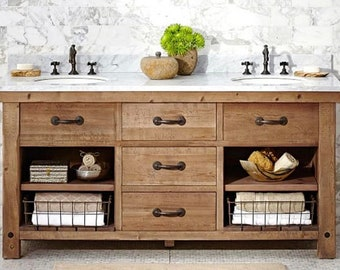 """60"""" Alder or Pine Vanity with 3 drawers,    Available from 24"""" - 96"""" long.   Old World Excellence!"""