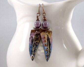 Handmade Incredible Earrings, Enameled Earrings, Antique Copper Earrings, Pink and Blue Earrings, Artisan Earrings, Dotted, OOAK, AE099