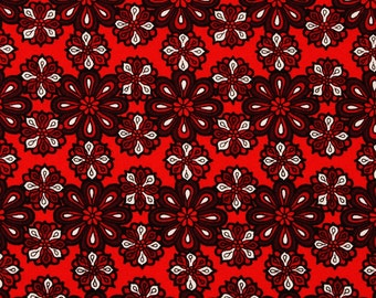 Red Rouge Red Petals printed Fabric by fabric freedom by the Half Yard