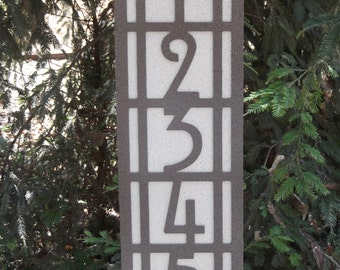 Vertical Arts and Craft address sign, Mission style, Bungalow, Four Square, Address number, Craftsman style, Street number, Address Plaque
