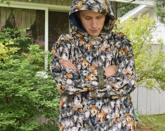 Men Kuspuk wolf Kuspuk Jacket alaska native Kuspuk custom made kuspuks