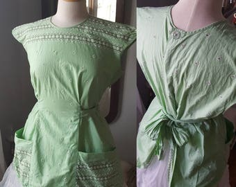 50s 50's 1950s Vintage Minty Green Apron Top House Work Cooking Baking Kitchen Decor Bakery Waitress Embroiderey Shower Gift