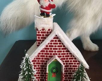 Hand made vintage santa on the chimney christmas house decor village
