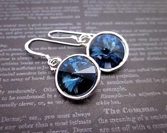 Montana Earrings, Silver & Dark Blue Earrings, Dark Blue Swarovski Earrings, Dark Blue Crystal Dangles, Montana Crystal Earrings, Blue Drops