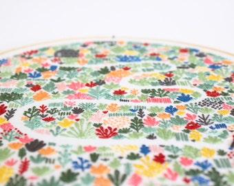 PDF Digital Download - Artist Series - Floral Field Embroidery Pattern - Thread Folk and Lauren Merrick