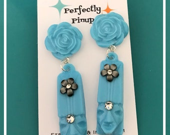 Blue Tiki Earrings with Flowers Pinup Rockabilly Dangles #277