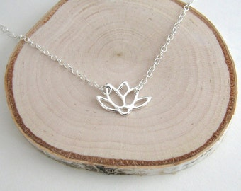 Lotus Flower Necklace, Sterling Silver Lotus Necklace, Flower Necklace, Dainty Silver Necklace, Yoga Necklace - Sterling Silver Chain