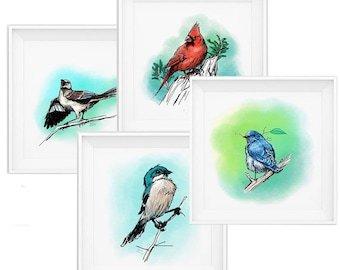 The Bird Bundle - Printable Wall Art - 4 Bird Sketches
