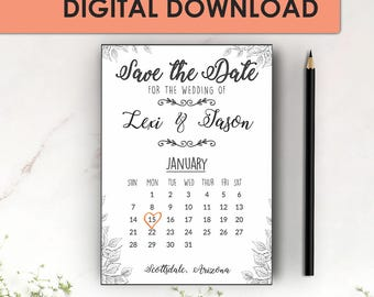 Save the Date Template, Save the Date Printable, Calendar Save the Date Printable, Wedding Invitation Template, Word Instant Download