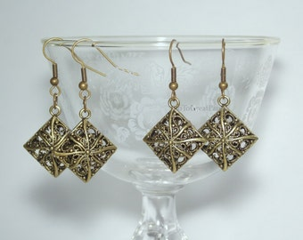 Filigree Earrings, Antiqued Brass-toned Elegant Earrings, Antiqued gold color, oxidized golden brass color, Simple Diamond Pillow Pendant
