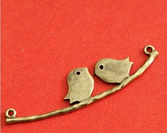 Sale 2pcs Antique Bronze Two Bird Brass Connectors