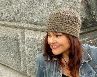Hat, Crochet, Chunky, Skullcap, Unisex, Snug, Warm, Winter, Fall, Barley, Tan