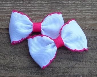 Set of 2 Pigtail Hair Bows~Toddler Hair Bow~Pink Hair Bow~Baby Hair Accessories~Tuxedo Hair Bows~Hair Accessories for Girls~Girls Hairbows