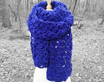 Oversized winter scarf, cobalt blue scarf, crochet oversized scarf, blue crochet scarf, chunky crochet scarf, chunky oversized scarf