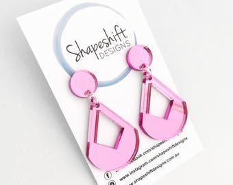 Pink Mirror Acrylic Dangle Earrings