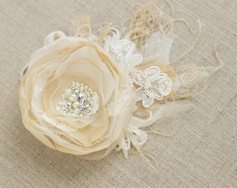 Lace headpiece, Wedding headpiece, Flower hair piece, bridal hair flower, Champagne hair clip, rustic fascinator, Wedding hair accessories