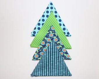 4 Fat Quarters - Blue/Green - Cotton Fabrics - (18 x 22)