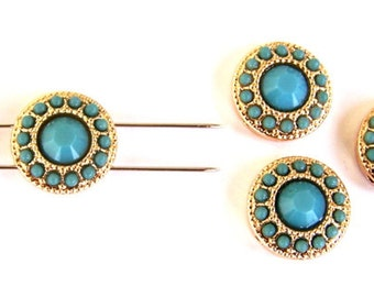 3 small turquoise and gold 2 hole beads, TINY round  blue two hole slider beads or 2 hole buttons, blue and gold, 13mm (about 1/2 inch)