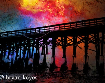"Pier at Sunset photograph on 24""x 36"" canvas."