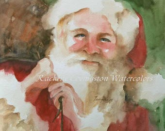 christmas card holiday greeting card holiday watercolor christmas CARD with SANTA card santa set red green white xmas art print painting