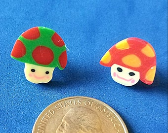 Hearing Aid Tube Trinkets:  Fimo Style Clay Polymer Mushrooms! Great for boys or girls! Please select quantity 2 for a pair!