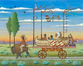 Pow Wow Bound - Giclée Print - Western Whimsicals by Marcia Wendel - Wall Art