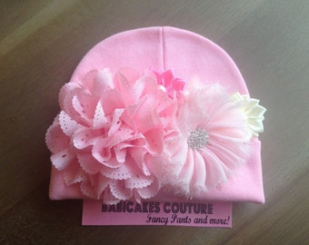 Pink Newborn Hat, New Baby Beanie, Baby Girl Hat, Newborn Hospital Hat, Infant Girl Hat, Newborn Girl Hat, Pink Hospital Hat, Infant Beanie