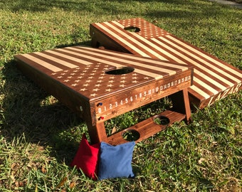 Hand-Made Corn Hole boards (2)  ** AMERICAN FLAG ** stain, paint, or any logo. Wedding + birthdays + anniversaries