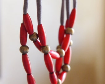 red rice skinny wooden multi layer necklace