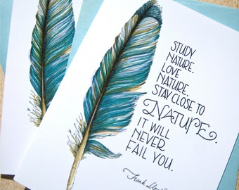 Feather Cards - Nature Quote Note Cards - Nature Lover Gift - Boxed Cards Set
