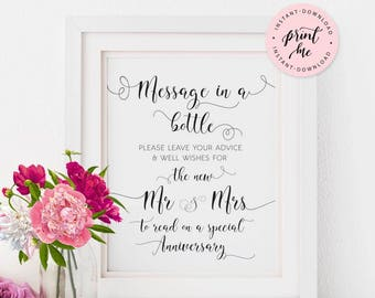 Message in a bottle, wedding sign, printable, advice and well wishes for the new mr and mrs, Guestbook, Instant Download, CARAMIA Collection